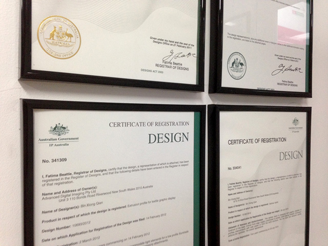 ADI Registered Design Certificates