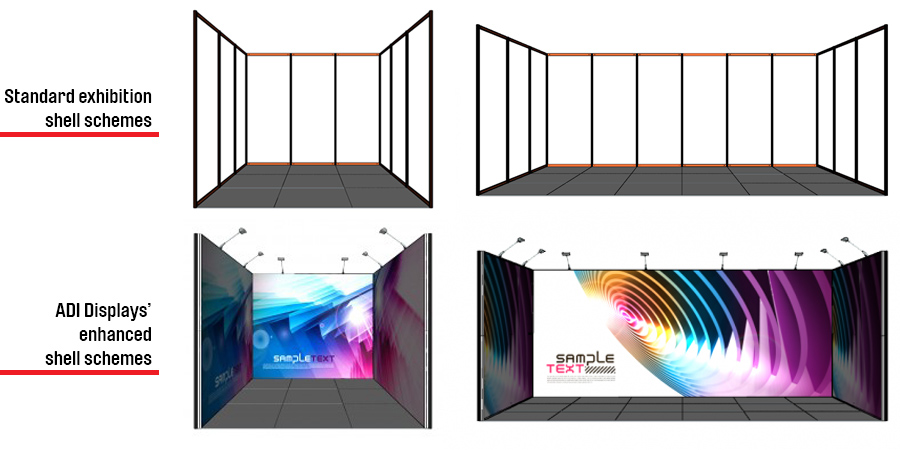Exhibits Exhibition Conference Stand Design Portable Displays TexFrame Package Shell Scheme Upgrade Inline