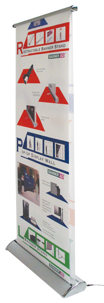 Motorised rolling banner stand