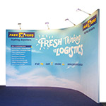 Fabric Curved Corner Exhibition Booth with Lights 3x3